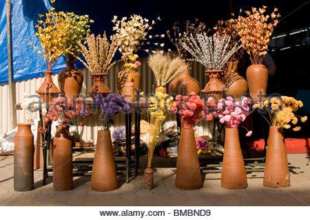 Pantalla de flores secas en una feria artesanal, Trivandrum Imagen De Stock