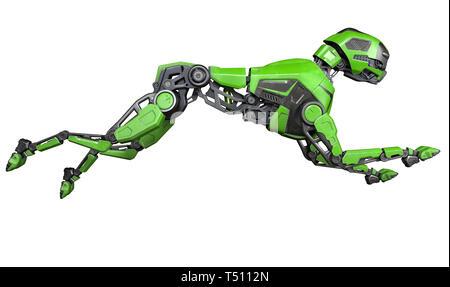 Perro robot verde se ejecuta sobre un fondo blanco. Ilustración 3D Imagen De Stock