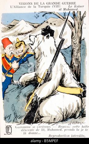 9 1914 8 2 C1 Alianza Alemania Turquía 1914 Caricat Guerra Mundial 1 1914 18 contrato secreto entre Alemania Imagen De Stock