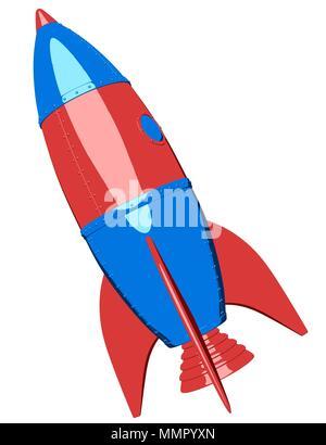 Cartoon rocket sobre fondo blanco. Ilustración 3D Imagen De Stock