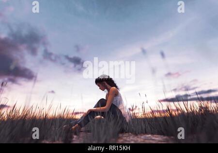 Ilustración 3d de una chica sentada sola en el campo de hierba Imagen De Stock