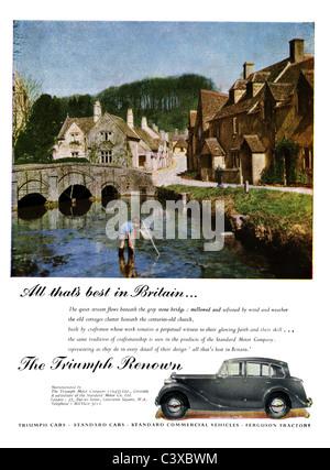 Anuncio para el triunfo del coche Motor Company la triump renombre, desde el Festival de Gran Bretaña, guía, Imagen De Stock