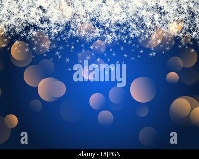 Christmas background de la caída de copos de nieve y oro bokeh luces Imagen De Stock
