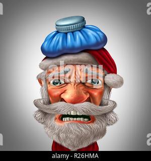 Dolor de cabeza de navidad con santa claus sentirse triste durante la temporada de vacaciones de invierno como un gracioso carácter estacional con ilustración 3D elementos. Imagen De Stock