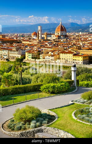 Florencia, la ciudad vista desde el Piazzale Michelangelo, Toscana, Italia Imagen De Stock