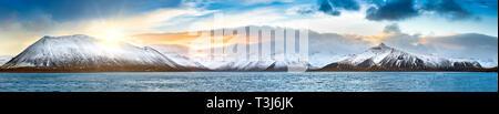 Panorama en invierno islandés Vesturland región Imagen De Stock