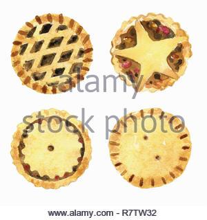 Acuarela de carne picada tartas con diferentes tapas Imagen De Stock