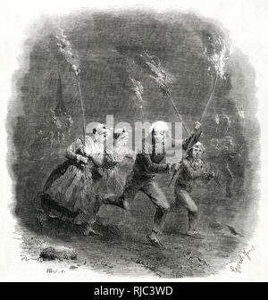 Antigua costumbre cristiana en la víspera de Navidad, en Francia, Alemania y Noruega, eran agricultores y campesinos perambulating los campos, dando vueltas y vuelta a la frontera, cantando y gritando y agitando sus brillantes antorchas ardiendo. Imagen De Stock