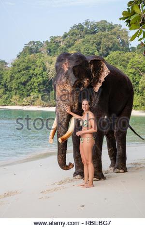 Turista en jugar con elepant. Jalakara Villa Hotel, Islas Andamán y Nicoar, India. Arquitecto: Ajith Andagere, 2016. Imagen De Stock