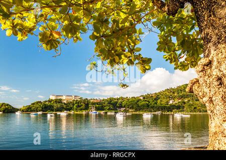 La Bahía de Samaná, enmarcadas por un árbol tropical en República Dominicana en un día soleado. Imagen De Stock