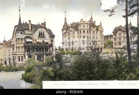 Villas en Karlovy Vary, Hoteles en Karlovy Vary, Edificios en Karlovy Vary, coloreados, en Alemania, en 1898, la región de Karlovy Vary, Karlsbad, Westend, República Checa Imagen De Stock