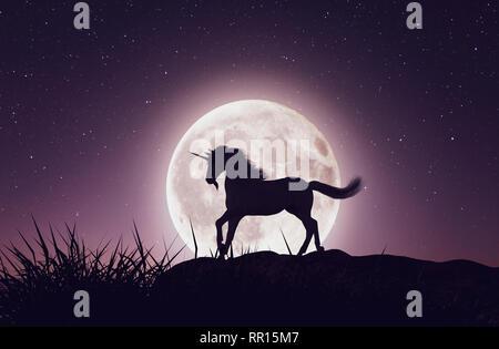 Unicornio con la luz de la luna,3D rendering Imagen De Stock