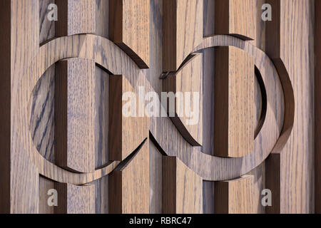 Paneles de madera y los gráficos. 8 Bloomsbury, Londres, Reino Unido. Arquitecto: Buckley gris Yeoman, 2017. Imagen De Stock