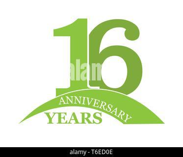 16 años aniversario, plano sencillo diseño, el logotipo Imagen De Stock