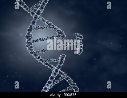 La ingeniería genética y la manipulación genética concepto. Ilustración 3D Imagen De Stock