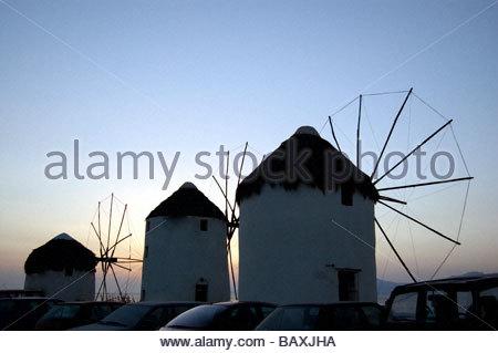 Los molinos de viento de Mykonos Grecia Imagen De Stock