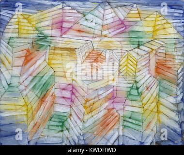 Teatro-montaña-construcción, de Paul Klee, 1920, Suiza, aceite, dibujo, Gouache y Tinta sobre Papel. La Imagen De Stock
