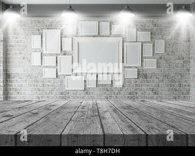 3D Render de una mesa de madera mirando a una pared en blanco de los marcos de imagen Imagen De Stock