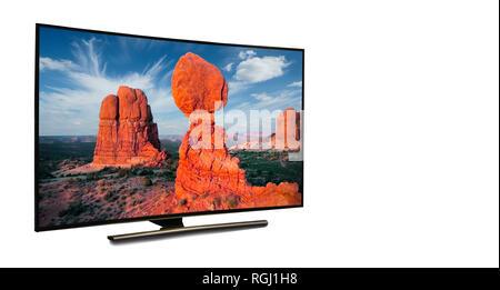 Monitor 4k aislado en blanco. TV con la vista de la naturaleza. Ee.Uu. Estado de Arizona. Imagen De Stock