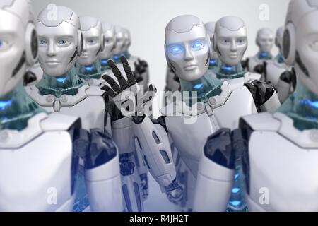 Robot peeping a partir de la multitud. Ilustración 3D Imagen De Stock