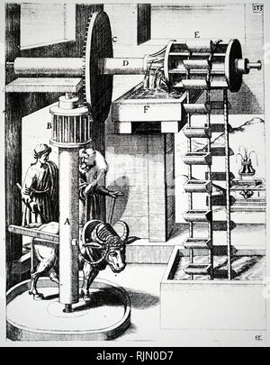 Ilustración mostrando Esher Linóleo Company, Royal Mills, Esher, Surrey, Gran Bretaña, 1887. Imagen De Stock