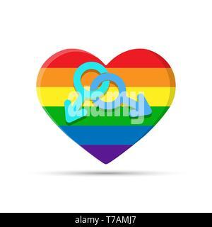 Corazón en colores LGBT con símbolo gay. Dos símbolos de masculinidad en el fondo del corazón en colores LGBT Imagen De Stock