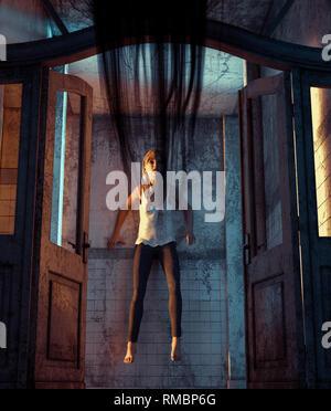 Siendo niña peg por un mal que vengativo en una casa embrujada,3D rendering**, escena nocturna puede haber algo de ruido Imagen De Stock