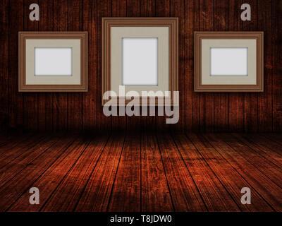 3D Render de Colgar cuadros en una imagen en blanco madera interior habitación grunge Imagen De Stock