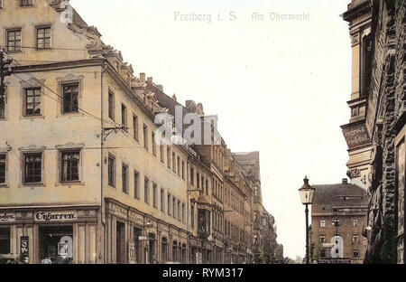 Edificios en Freiberg (Sajonia), Tiendas en Sajonia, 1906, Landkreis Mittelsachsen, Freiberg, Am Obermarkt, Alemania Imagen De Stock