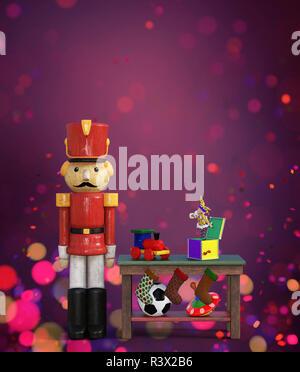 Navidad juguete cascanueces decorado sobre fondo de colores,3D rendering Imagen De Stock