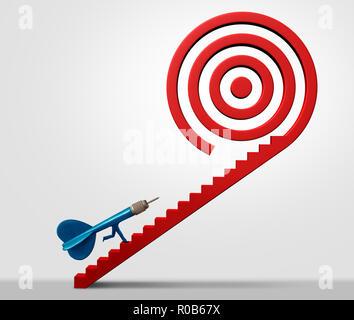 El éxito empresarial estratégico y bullseye concepto de dirección y objetivos de carrera con ilustración 3D elementos. Imagen De Stock