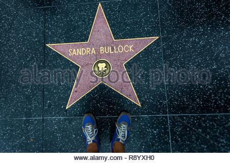 Estados Unidos, California, Los Ángeles, Hollywood, Hollywood Boulevard, el Paseo de la Fama, Sandra Bullock star Imagen De Stock
