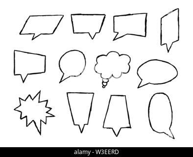 Conjunto de los campos de texto de diferente forma y configuración, líder para texto, frase o mensaje, diseño plano Imagen De Stock