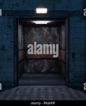 Un antiguo ascensor en casa abandonada,3D rendering Imagen De Stock