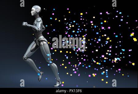 El robot ejecuta dejando un rastro de píxeles. Ilustración 3D Imagen De Stock