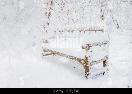 Banco cubierto de nieve Imagen De Stock