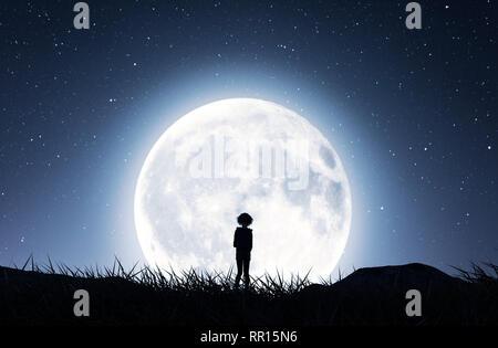 Chica caminando a la luna en la noche estrellada,3D rendering Imagen De Stock