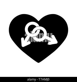 Símbolo gay en el fondo del corazón. Dos símbolos de masculinidad contra el fondo del corazón, de diseño simple Imagen De Stock