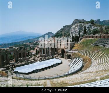 Teatro Griego de Taormina Sicilia Imagen De Stock