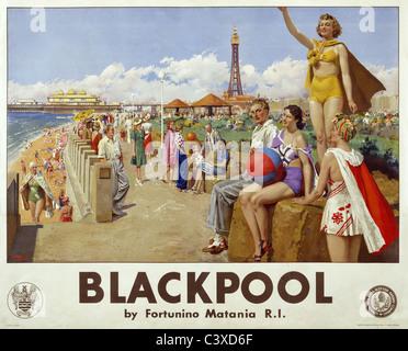 Blackpool, por Fortunino Matania. Inglaterra, de principios del siglo XX. Imagen De Stock