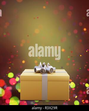 Caja de regalo de oro decorado con coloridas luces borrosa antecedentes,3d ilustración Imagen De Stock