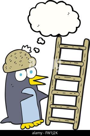 Burbuja de pensamiento dibujados a mano alzada cartoon pingüino con escalera Imagen De Stock