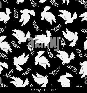 Patrón sin fisuras con palomas y rama de olivo. Modernos colores aleatorios. Ideal para textiles, embalajes, papel de impresión, fondos y texturas simples. Imagen De Stock
