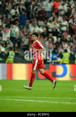 Enero 15, 2019 : Yashir Islame de Palestina en Palestina v Jordania en el estadio Mohammed Bin Zayed, en Abu Dhabi, Emiratos Árabes Unidos, AFC Copa Asiática, campeonato de fútbol asiático. Ulrik Pedersen/CSM. Imagen De Stock