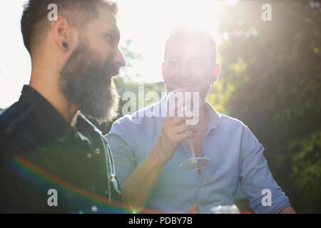 Una pareja gay masculina bebiendo vino y hablando Imagen De Stock