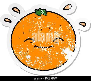 Pegatina angustiado de una historieta naranja Imagen De Stock