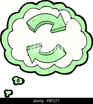 Burbuja de pensamiento dibujados a mano alzada de dibujos animados flechas reciclaje Imagen De Stock