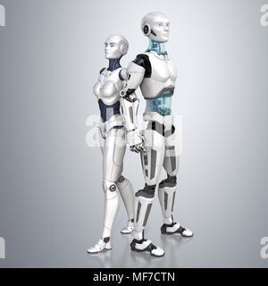 Robots femeninos y masculinos posando sobre un fondo gris claro. Ilustración 3D Imagen De Stock