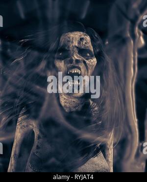 Gritos de vengativo mal,3d ilustración para la portada del libro. Imagen De Stock