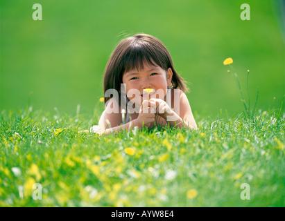 Chica tumbado en la pradera sosteniendo una flor amarilla Imagen De Stock